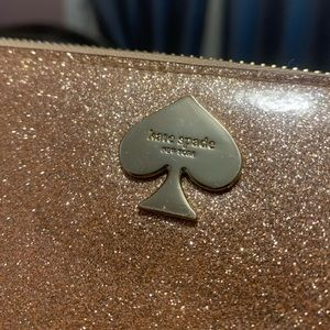 Kate Spade Full ZIP Rose Gold Glitter Wallet